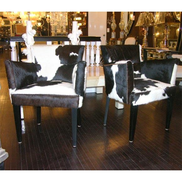 White Pair of Custom Black and White Spotted Cowhide Deco Chairs For Sale - Image 8 of 8