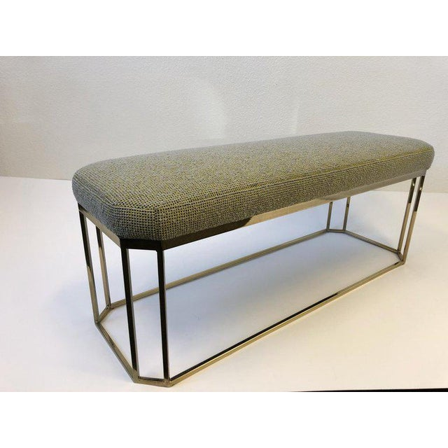 1970s Hexagonal Shape Brass Bench by Milo Baughman For Sale - Image 5 of 12