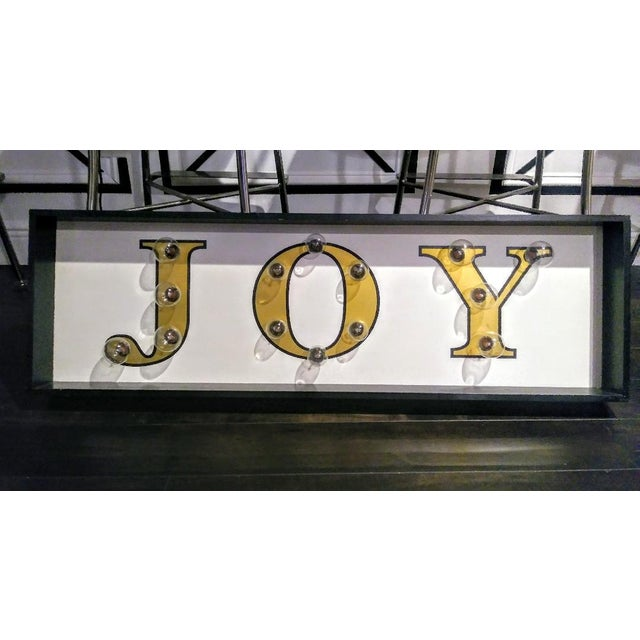 2000s Large Joy Christmas Light Up Plug in Wall Sign Art For Sale - Image 5 of 5