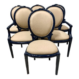 Set of 6 Navy Lacquered Faux Bois Dining Chairs For Sale