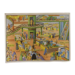 Vintage Mid-Century Double Sided French Shopping Mall & the City School Poster For Sale