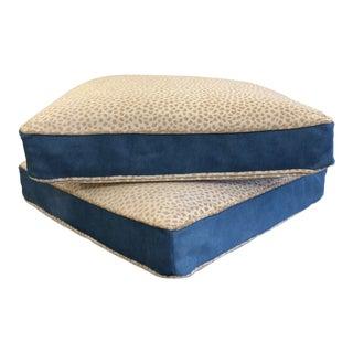 Pair Blue Hide+ Animal Print Floor Pillows For Sale