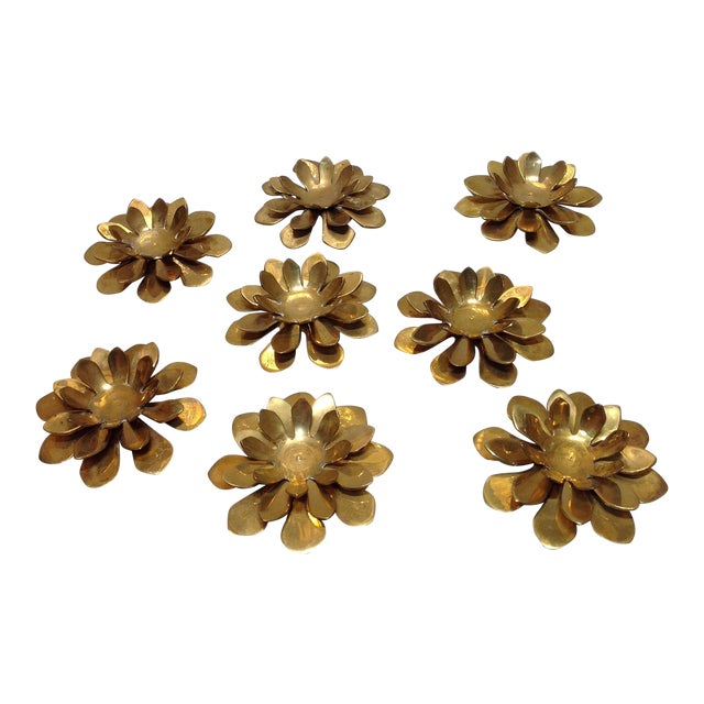 Vintage Brass Lotus Flower Candle Holders Set Of 8 Chairish