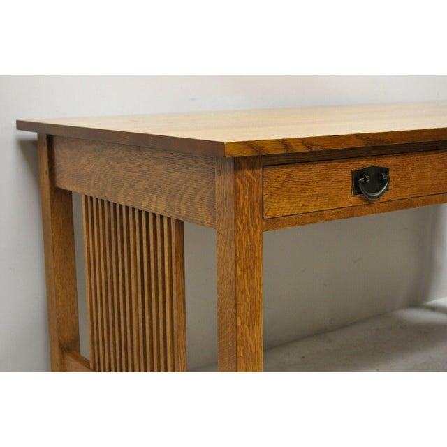 """Late 20th Century Stickley Mission Collection Fayetteville Oak 66"""" Spindle Library Office Desk For Sale - Image 5 of 12"""