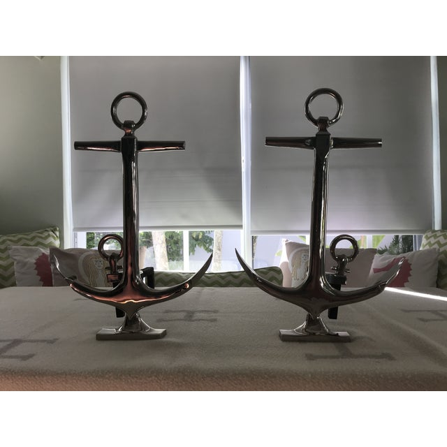 Nickel Anchor Andirons For Sale - Image 9 of 10