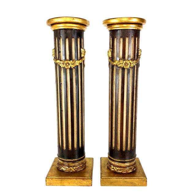 Mid 19th Century Antique French Louis XVI Style Giltwood Pedestals / Columns - A Pair For Sale