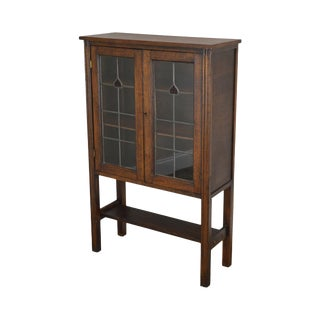 Antique Arts & Crafts Style Oak Leaded Glass 2 Door Small Bookcase For Sale