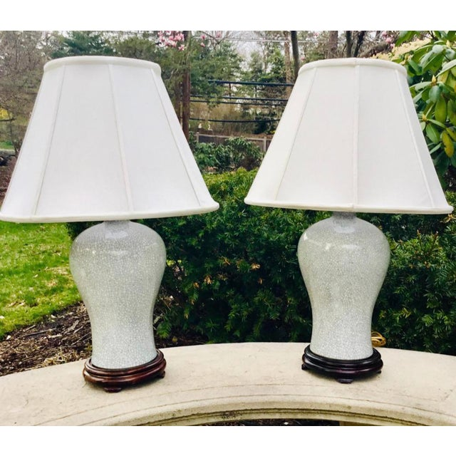 Chinoiserie Chinoiserie Crackle Vase Table Lamps -- a Pair For Sale - Image 3 of 8