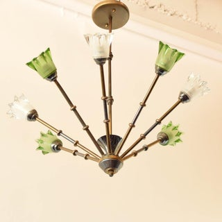 Mid 20th Century Glass and Brass Mid Century Chandelier Preview
