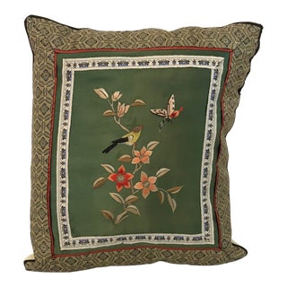 Vintage Asian Silk Embroidered Panel Pillow For Sale