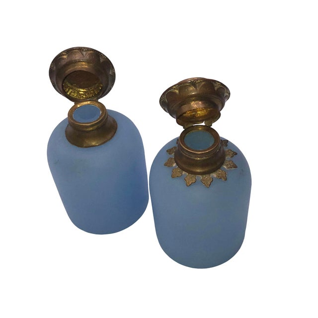 French Antique French Blue Opaline Perfume Bottles - a Pair For Sale - Image 3 of 6
