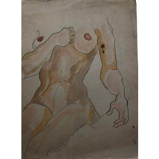 Female Nude Watercolor by Alf Evers, 1930s For Sale