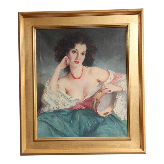 """Maria Szantho """"Woman With Tambourine"""", 1930s For Sale"""