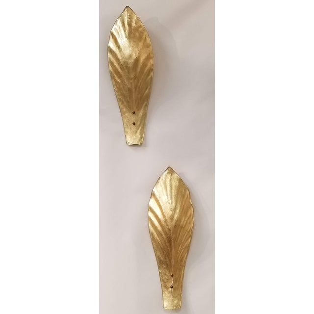 Mid-Century Modern Gold Leaf Murano Wall Sconces in Moulded Leaf Design. 2 Pairs - Total of 4 Pieces. For Sale - Image 3 of 4