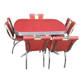 Formica and Chrome 1950s Dinette Set - 6 Piece Set For Sale