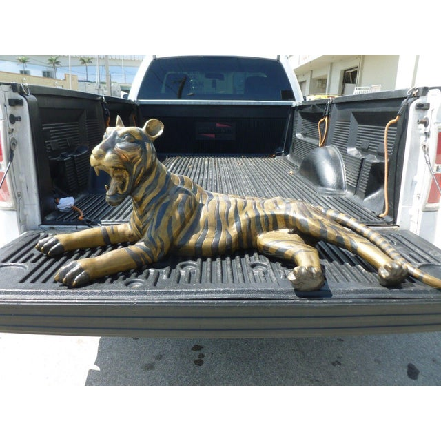 Gold Large 70's Sitting Bronze Tiger For Sale - Image 8 of 8