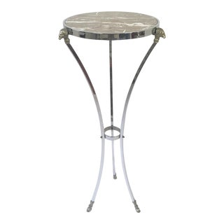 Italian Regency Steel, Brass & Marble Rams Head Pedestal Table For Sale