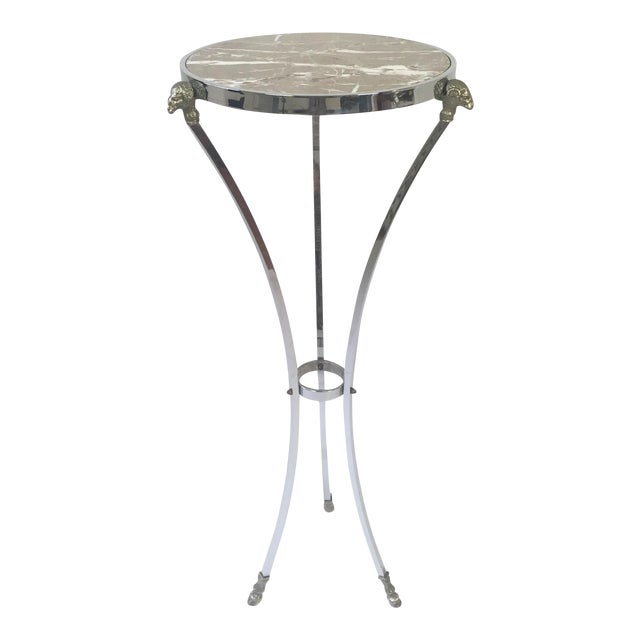 Italian Regency Steel, Brass & Marble Rams Head Pedestal Table For Sale