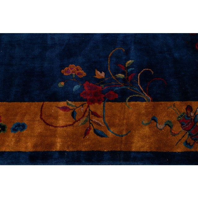 Metal Early 20th Century Antique Art Deco Chinese Wool Rug For Sale - Image 7 of 13