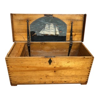 19th Century Sailor's Personal Sea Chest Trunk For Sale