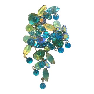 Kramer Turquoise Blue & Green Rhinestone Dangle Beads Brooch For Sale