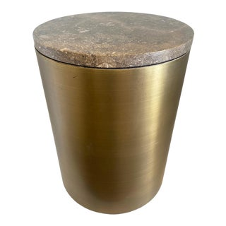Paul Mayen Style Matte Bronze Drum Table For Sale