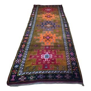 1960s Vintage Kars Oushak Rug Runner - 12′10″ × 4′6″ For Sale