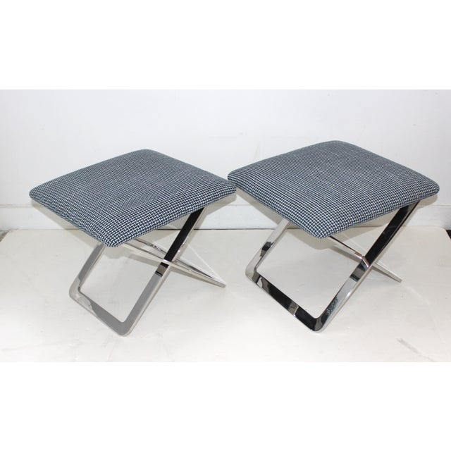 Mid-Century Modern Milo Baughman Attributed X-Stools - a Pair For Sale In West Palm - Image 6 of 11