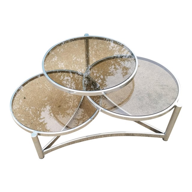 Milo Baughman Tri Level Chrome and Glass Swivel Coffee Table For Sale