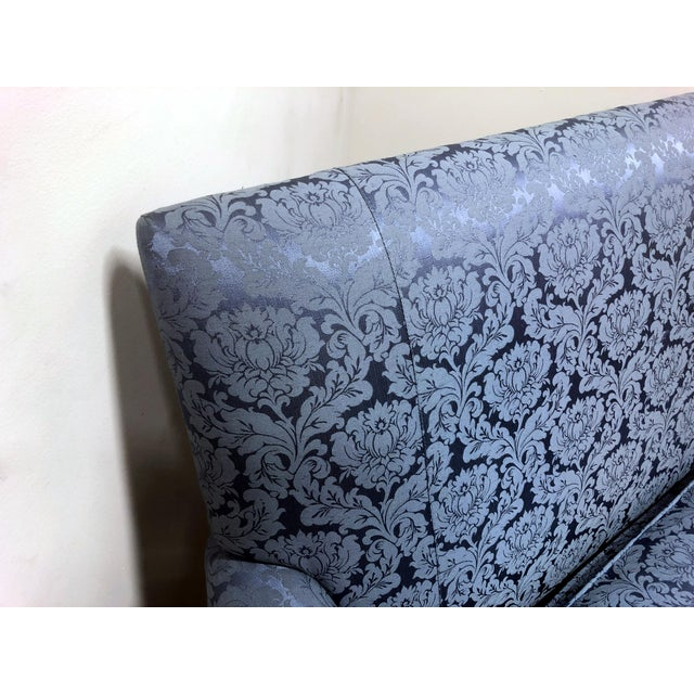 Wood Hickory Chair Queen Anne Sofa Settee in Blue Brocade For Sale - Image 7 of 13