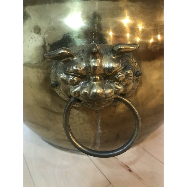 1970s Textured Brass Planter With Foo Foo Dogs For Sale - Image 5 of 6