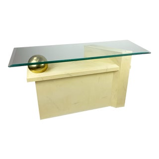 Post Modern Glass Brass and Faux Finish Console Table For Sale