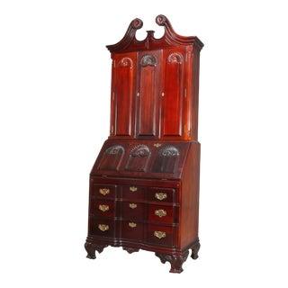 Vintage Chippendale Carved Mahogany Secretary Desk For Sale
