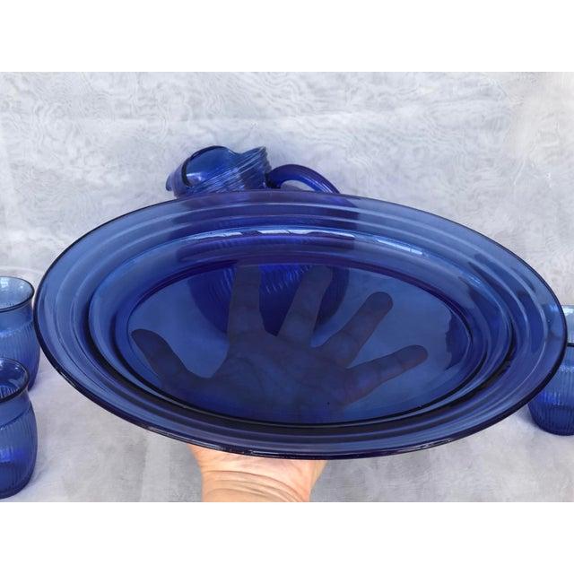 Vintage Cobalt Blue Glass Lemonade Set- 6 Pieces For Sale - Image 10 of 13
