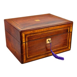19th-Century English Banded Mahogany Box With Secret Drawer, Lock & Key For Sale