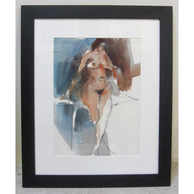 1970s Vintage Jack Laycox Abstract Female Nude Watercolor Painting For Sale In San Diego - Image 6 of 6
