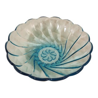 Brilliant Blue Sea Shell Swirl Glass Bowl, A Pair For Sale