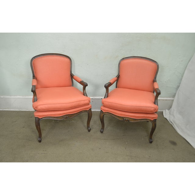 French Louis XV Style Custom Quality Pair of Fauteuils Arm Chairs For Sale - Image 4 of 13