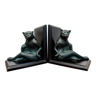 Cast Metal Monkey Bookends, a Pair For Sale