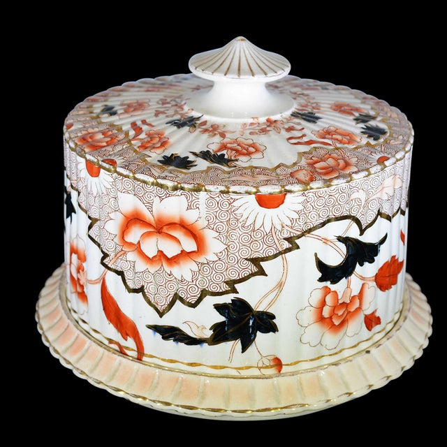 Victorian English Ceramic Cheese Dome With Printed and Hand Painted Decoration For Sale - Image 11 of 13