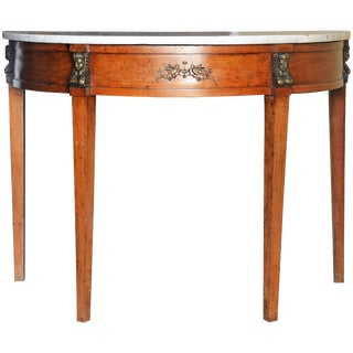 19th Century Neoclassical Egyptian Themed Fruitwood Demilune Table