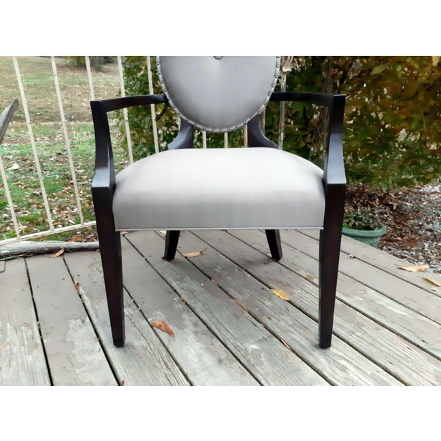 Bernhardt Jet Set Center Button Tufting Arm Chairs - Set of 4 For Sale - Image 9 of 13