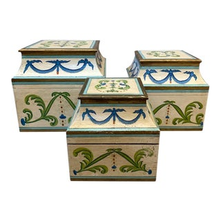 Antique Italian Leaves and Swags Painted Boxes - Set of 3 For Sale