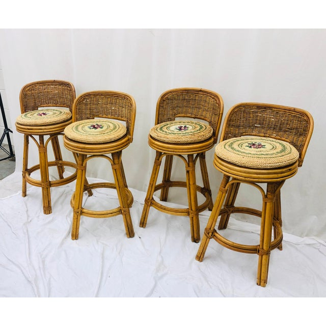 Boho Chic Set Vintage Bamboo & Wicker Stools For Sale - Image 3 of 11