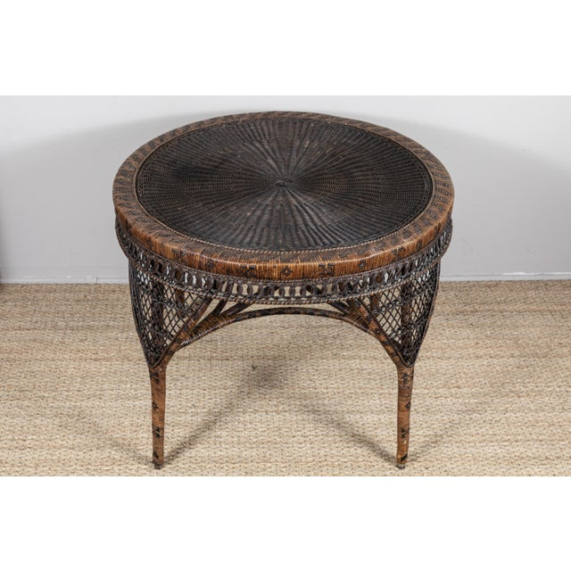 Wicker Victorian Wicker Round Side Table For Sale - Image 7 of 11