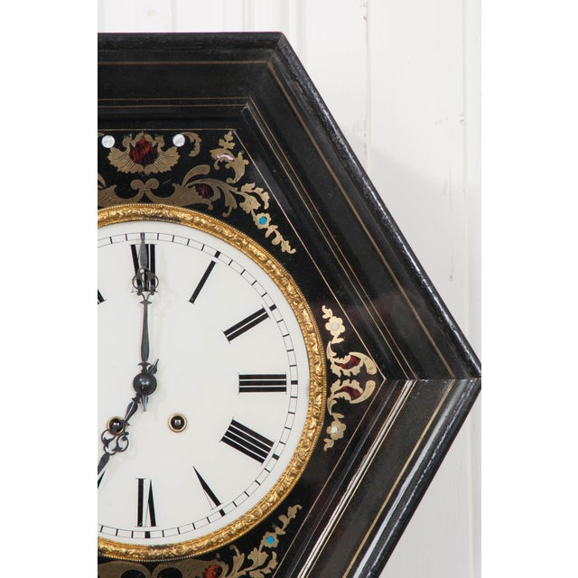 French 19th Century French Boulle-Inlaid Hexagonal Wall Clock For Sale - Image 3 of 8