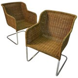 Image of 1970s Vintage Harvey Probber Style Rattan Wicker Chrome Armchairs- a Pair For Sale