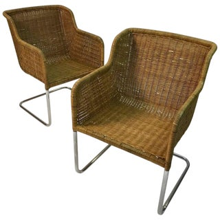 1970s Vintage Harvey Probber Style Rattan Wicker Chrome Armchairs- a Pair For Sale