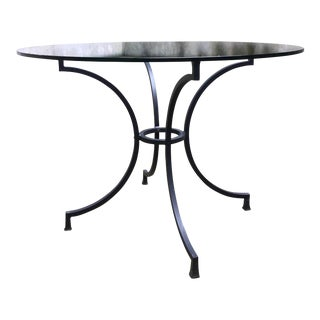 1990s Vintage Contemporary Outdoor Round Glass Top Dining Table For Sale