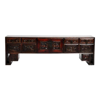 Antique Chinese Low Table With Four Drawers For Sale